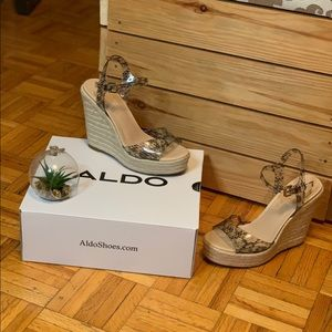 Aldo Corded Wicker Style Wedge Shoes Summer Style